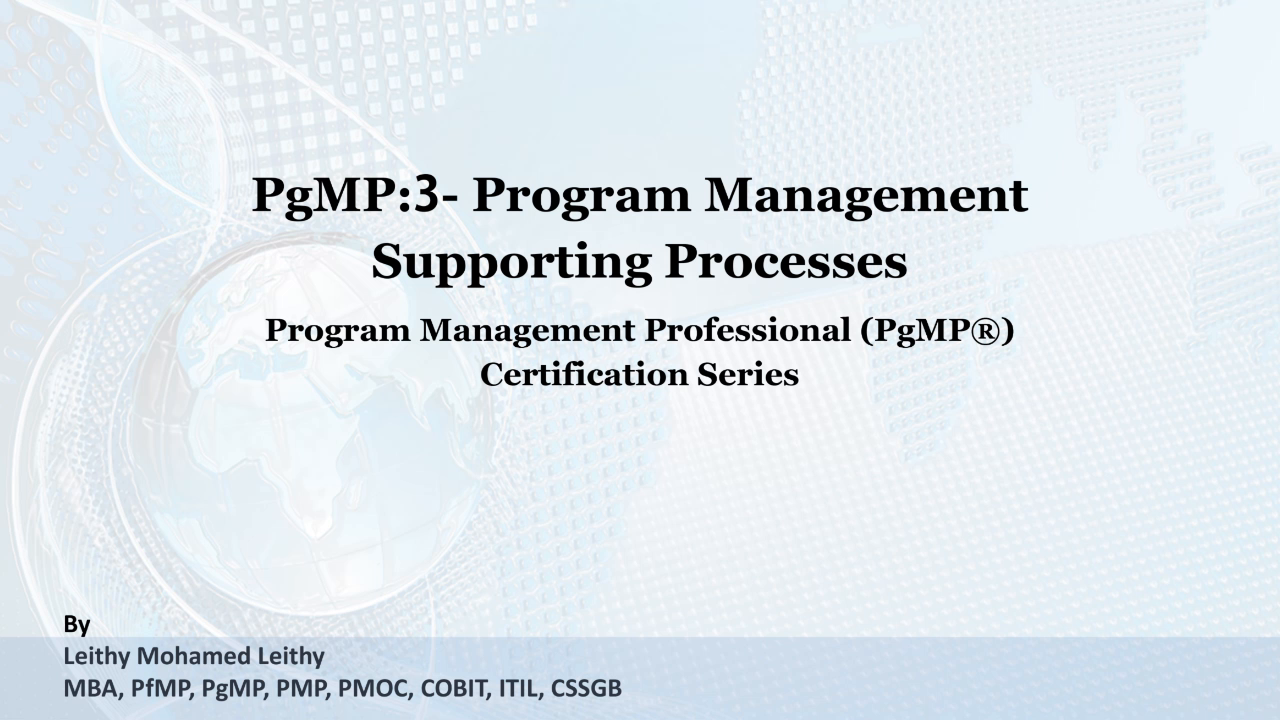 Pgmp 3 The Program Management Supporting Processes Zeqr